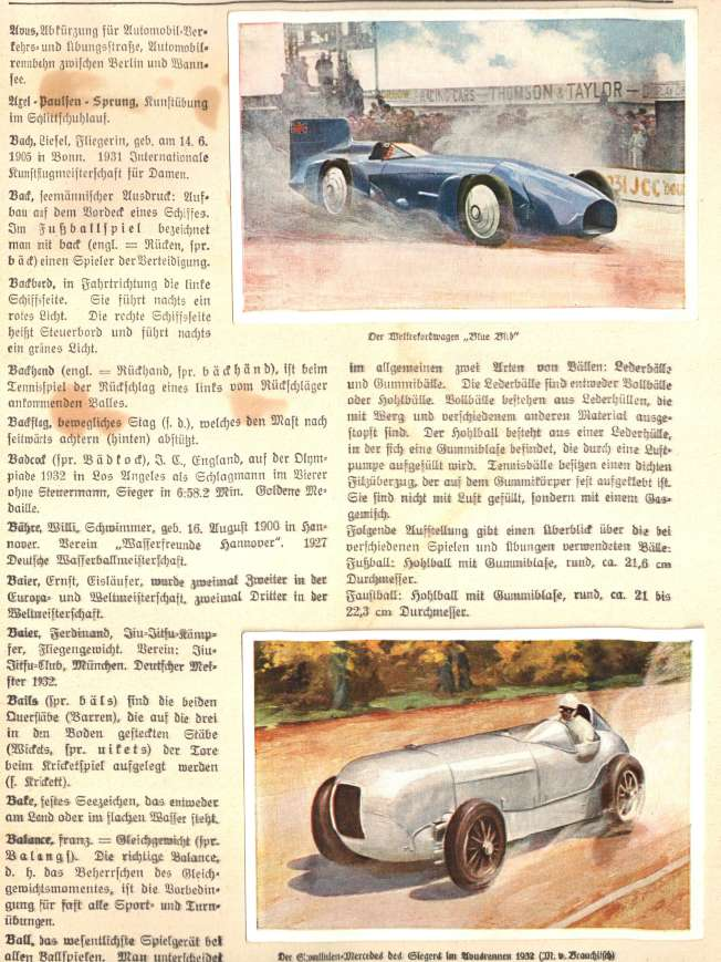 1933 Sanella fig. 1, Full page example--two racecars
